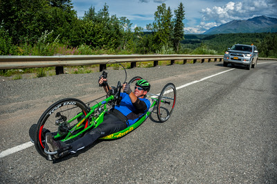 July 25, 2015: Ryan Kelling races along the Parks Highway during stage six of the 2015 Alaska Challenge handcycle race.