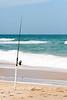 Fishing pole on beach
