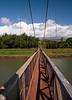 View down the walkway of the swinging suspension bridge at Hanapepe