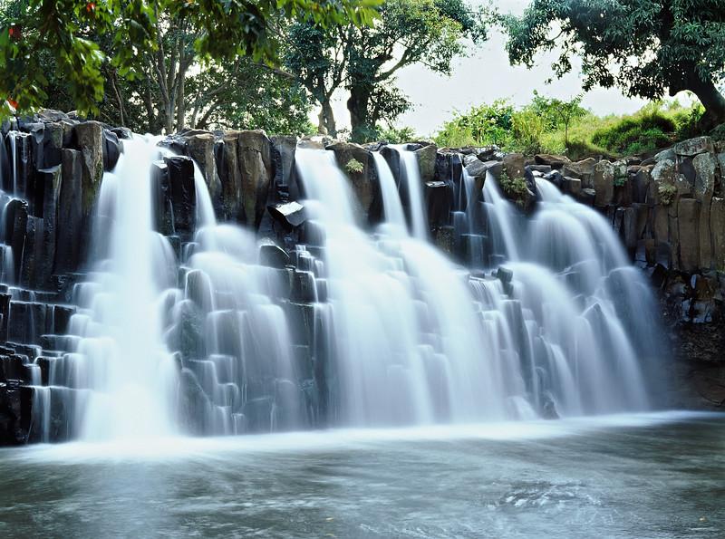 Wide rock waterfall in Mauritius island