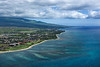 Aerial of Maui, Hawaii coastline with hotel resorts and beach.