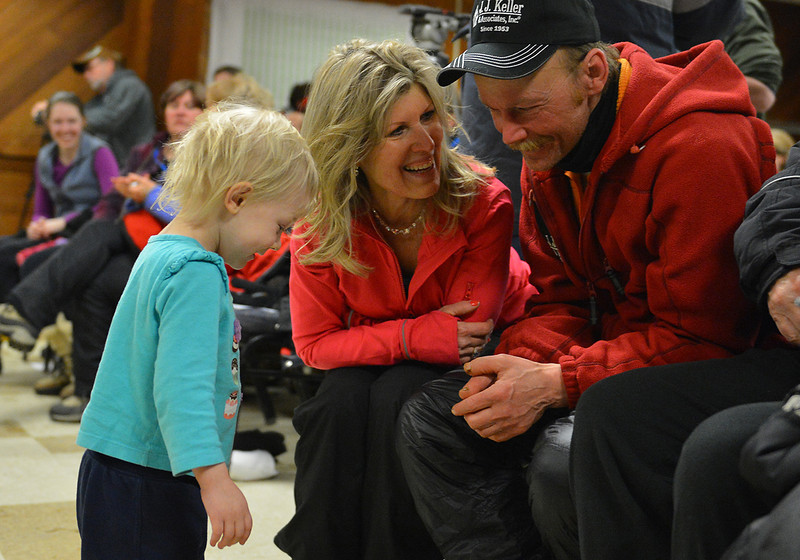 Mitch Seavey won his second Iditarod after claiming the 2013 race. Seavey shares a moment with his family after finishing the race.