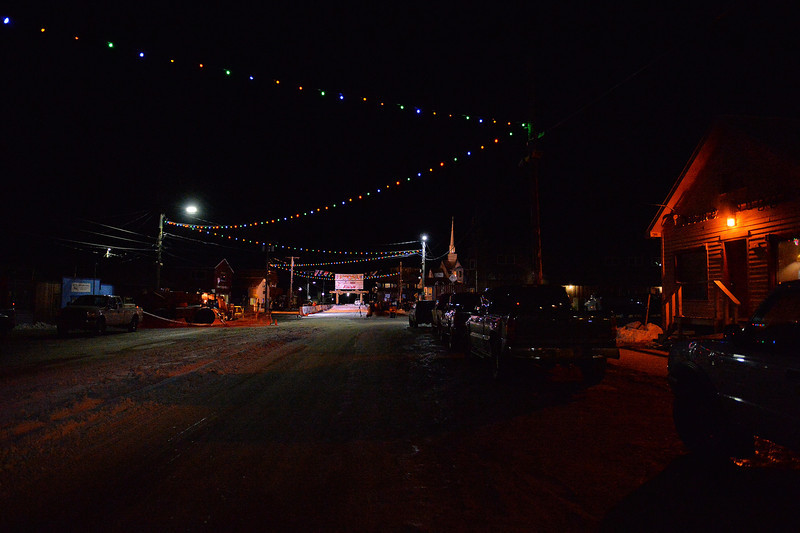 March 10, 2014: Front Street in Nome, Alaska is home to the finish line for the Iditarod. The street is mostly empty at 11:15 p.m. as the town awaits the winner of Iditarod 42.