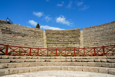 Stands of Small Greek Theater (Odeon) in Pompeii, Italy