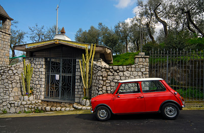Red Mini Cooper, Italian Countryside