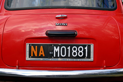Red Mini Cooper Licence Plate, Naples (Italy)