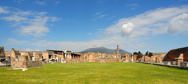 Forum, Temple of Jupiter, and Vesuvius at Pompeii (Italy)