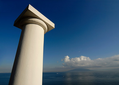 White Column with Mt Vesuvius in Background, Gulf of Naples (Italy)