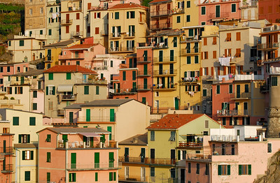 Colourful Facades of Houses in Village of Manarola, Cinque Terre (Italy)