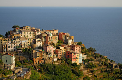 Colorful Houses of village of Corniglia in Cinque Terre National Park on Italy's Ligurian Coast