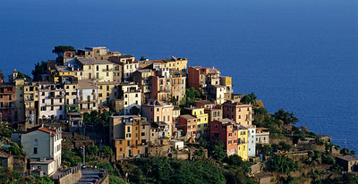 Village of Corniglia in Cinque Terre National Park on Italy's Ligurian Coast
