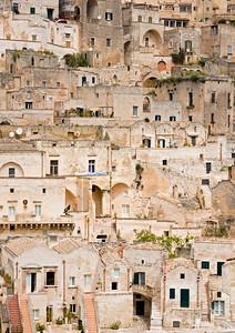 Close-up of Sassi di Matera, Prehistoric Cave Houses, Sasso Barisano, Matera, Basilicata, Southern Italy