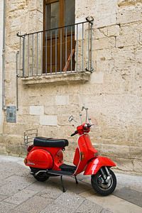 Red Vespa Scooter, Lecce, Italy
