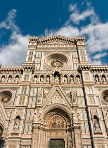 Frontal Facade of Florence Cathedral - Duomo or Basilica di Santa Maria del Fiore (Basilica of Saint Mary of the Flower), Firenze, Tuscany (Toscana), Italy