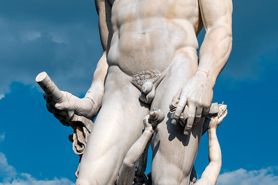 Close-up of Neptune Statue, Fountain of Neptune, Piazza della Signoria, Florence (Firenze), Tuscany (Toscana), Italy