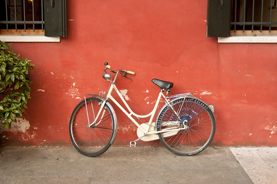 Bicycle Leaning against Wall, Italy