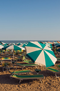 Empty Beach Umbrellas and Deckchairs, Spiaggia di Ponente, Caorle, Veneto, Italy