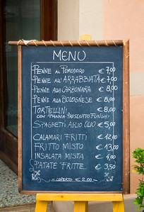 Blackboard Menu, Italian Food, Caorle