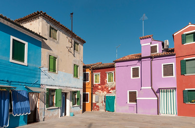 Street with Colourful Houses, Burano, Venice, Veneto, Italy