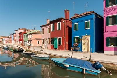 Canal with Boats, Fondamenta di Terranova, Burano, Venice, Veneto, Italy