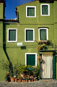Green Painted House, Burano Island near Venice, Italy