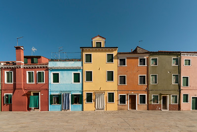 Brightly Painted House Fronts, Piazza Baldassarre Galuppi, Burano, Venice, Veneto, Italy