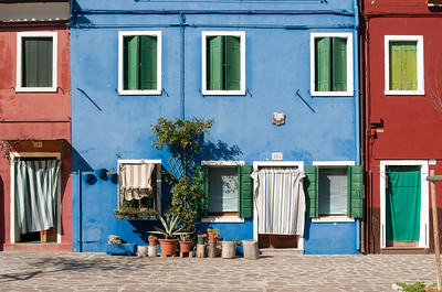 Bright Blue House Front, Burano, Venice, Veneto, Italy