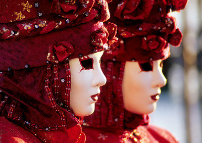 Two Red Carnival Masks, Venice (Italy)