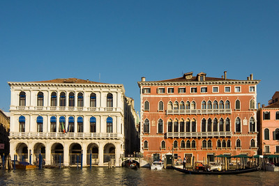 Classicist Palazzo Manin-Dolfin (built in 1538-40 by Jacopo Sansovino, currently used by Bank of Italy), and 15th century Gothic Bembo Palace in San Marco District near Rialto Bridge, Grand Canal, Venice, Veneto, Italy