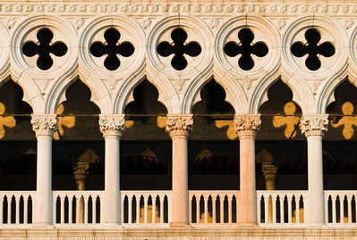 Close-up of Architectural Detail of Gothic Facade of Palazzo Ducale (Doge's Palace), Piazza San Marco (St. Mark's Square), Venice, Italy