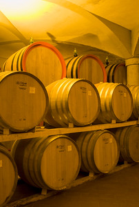 Oak Barrels at Wine Cellar, Montalcino, Italy