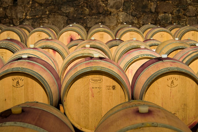 Oak Barrels in Wine Cellar in Bolzano (Bozen), Trentino-Alto Adige, Italy