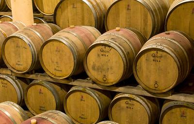 Wine Aging in Oak Barrels, Tuscany, Italy
