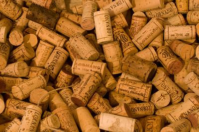 Close-up of Pile of Chianti Wine Corks, Tuscany (Toscana), Italy