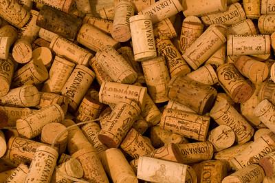 Close-up of Pile of Chianti Wine Corks, Tuscany (Toscana), Italy