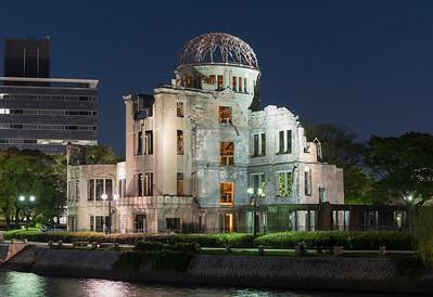 Atomic Bomb Dome at Hiroshima Peace Memorial by night, Japan