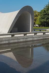 Cenotaph and Peace Pond at Hiroshima Peace Memorial Park, Japan