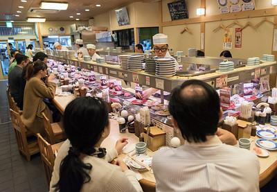 Conveyor belt sushi restaurant, Japan