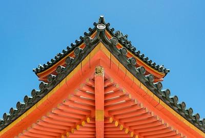 Detail of roof of Main gate of Heian Jingu, Shinto Shrine, Kyoto, Japan