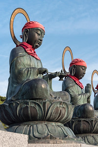 Bronze Rokujizo (Roku Jizo or Ksitigrabha) statues at Zenko-ji Temple, Nagano, Japan