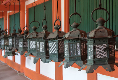 Bronze lanterns at Kasuga Taisha Shrine in Nara, Japan