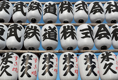 Traditional Japanese lanterns (chochin) at Senso-ji Temple in Asakusa, Tokyo, Japan