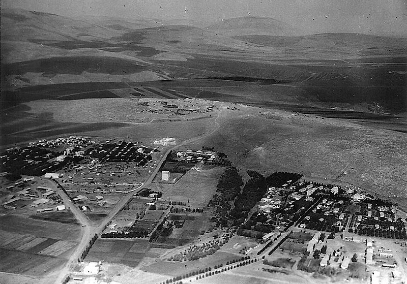 Aerial view - Ein Harod on the Left, Tel Yoseph on the Right.