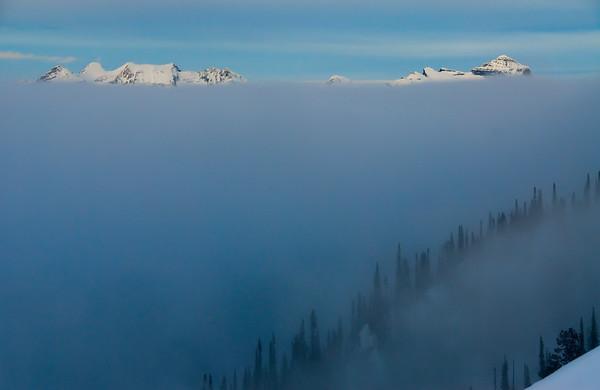 Foggy day in the Adamant Range, British Columbia
