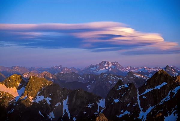 Cirrus clouds over the North Cascades, Washington