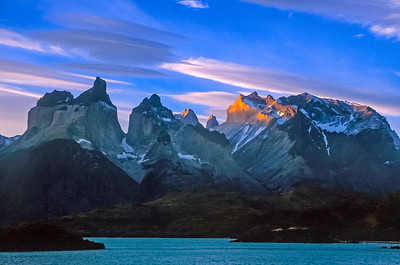 Sunrise on the Torres del Paine, Patagonia, Chile