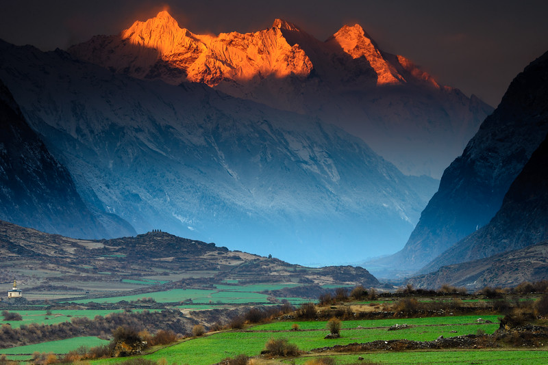 Sunrise in the Tsum Valley, Nepal