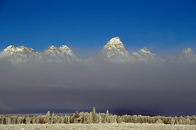 Tetons in fog, Wyoming
