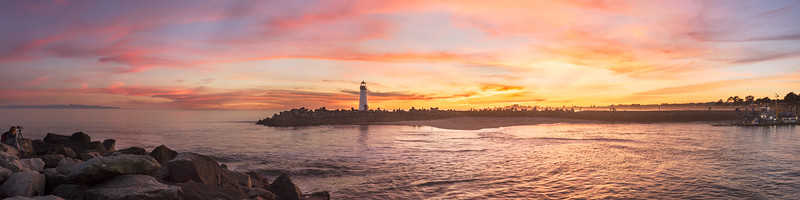 Sunset panorama at Santa Cruz Harbor