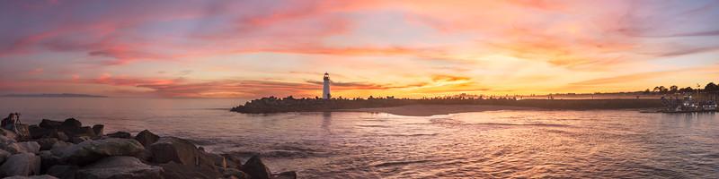 Sunset panorama at Santa Cruz Harbor